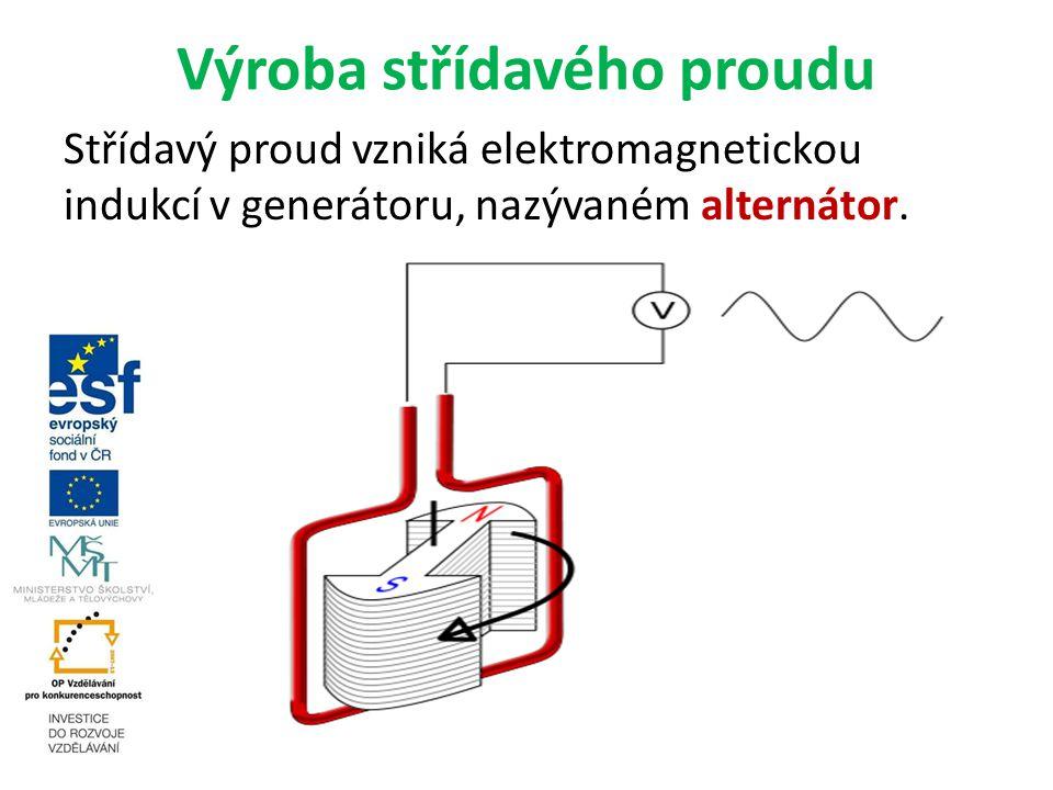 Výroba střídavého proudu Střídavý proud vzniká elektromagnetickou indukcí v generátoru, nazývaném alternátor.