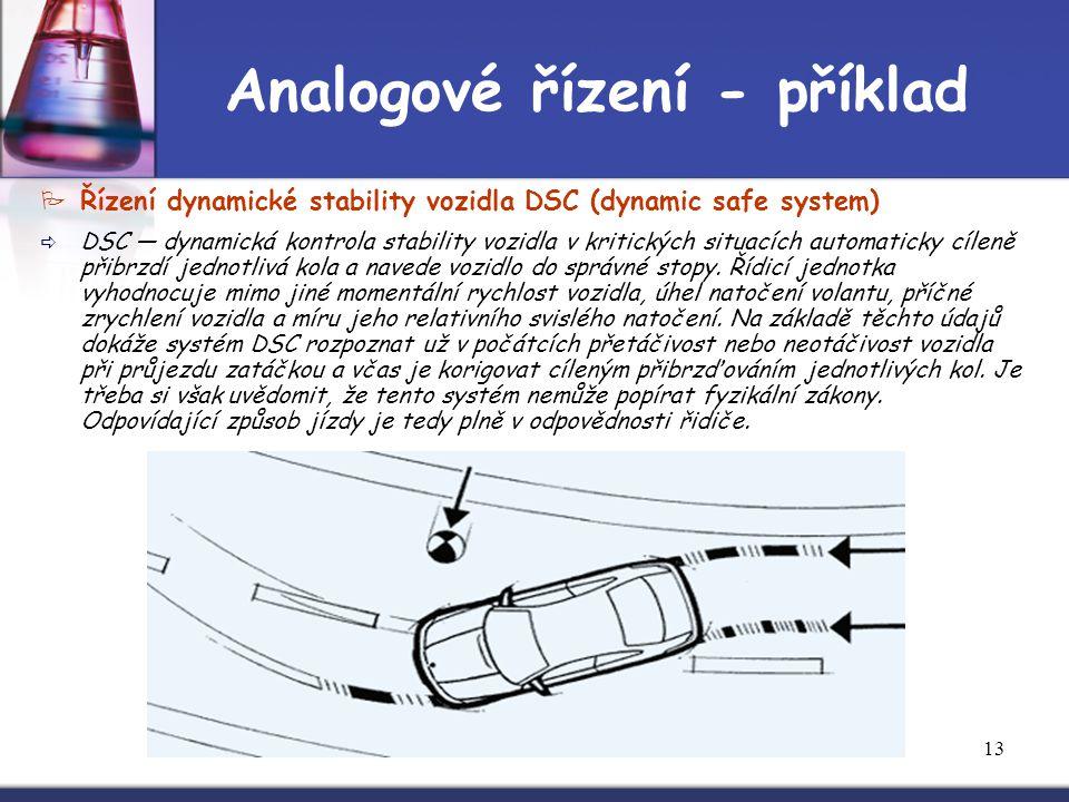 13 Analogové řízení - příklad  Řízení dynamické stability vozidla DSC (dynamic safe system)  DSC — dynamická kontrola stability vozidla v kritických