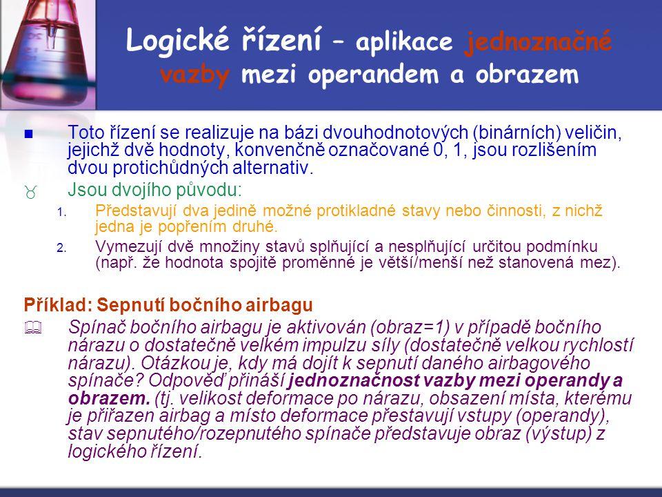 Logické řízení – aplikace jednoznačné vazby mezi operandem a obrazem Toto řízení se realizuje na bázi dvouhodnotových (binárních) veličin, jejichž dvě