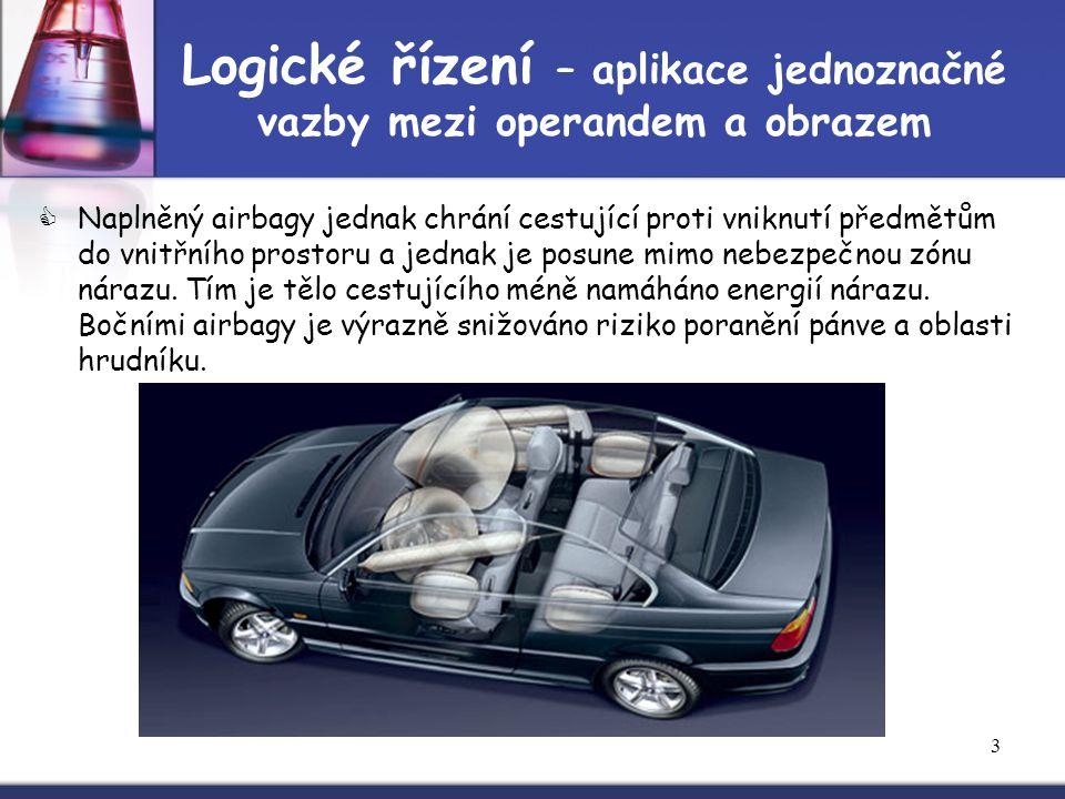 3 Logické řízení – aplikace jednoznačné vazby mezi operandem a obrazem  Naplněný airbagy jednak chrání cestující proti vniknutí předmětům do vnitřníh
