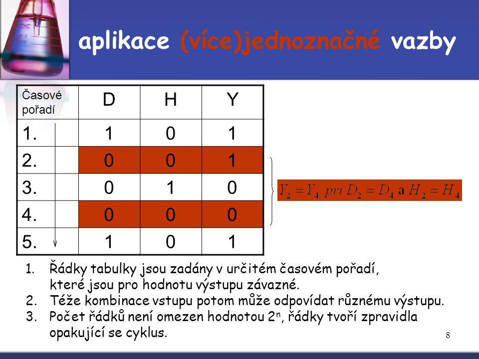 8 aplikace (více)jednoznačné vazby Časové pořadí DHY 1.101 2.001 3.010 4.000 5.101 1.Řádky tabulky jsou zadány v určitém časovém pořadí, které jsou pr