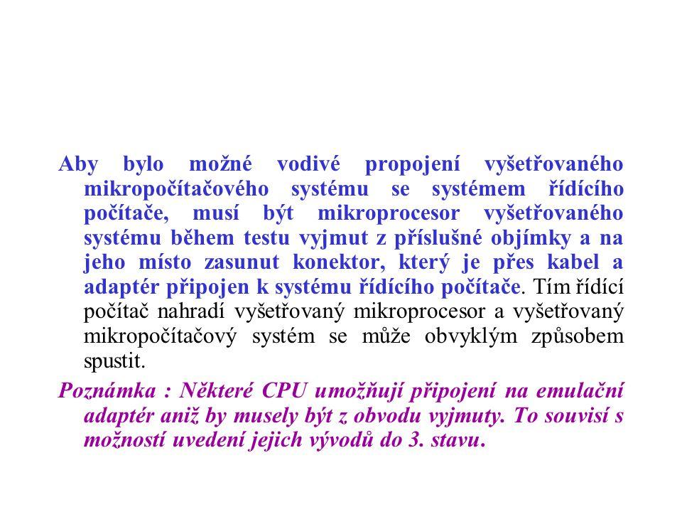Aby bylo možné vodivé propojení vyšetřovaného mikropočítačového systému se systémem řídícího počítače, musí být mikroprocesor vyšetřovaného systému bě
