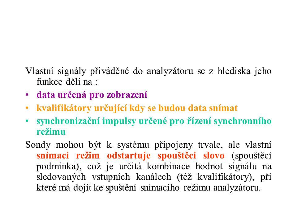 Vlastní signály přiváděné do analyzátoru se z hlediska jeho funkce dělí na : data určená pro zobrazení kvalifikátory určující kdy se budou data snímat