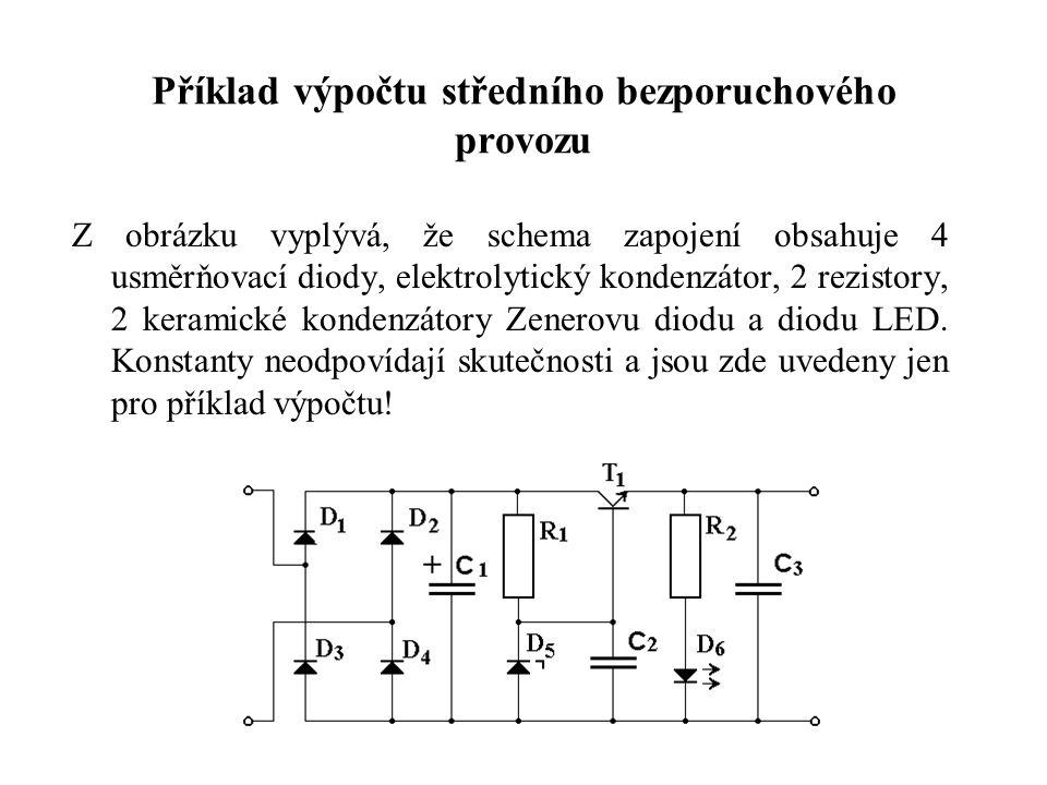 Příklad výpočtu středního bezporuchového provozu Z obrázku vyplývá, že schema zapojení obsahuje 4 usměrňovací diody, elektrolytický kondenzátor, 2 rez