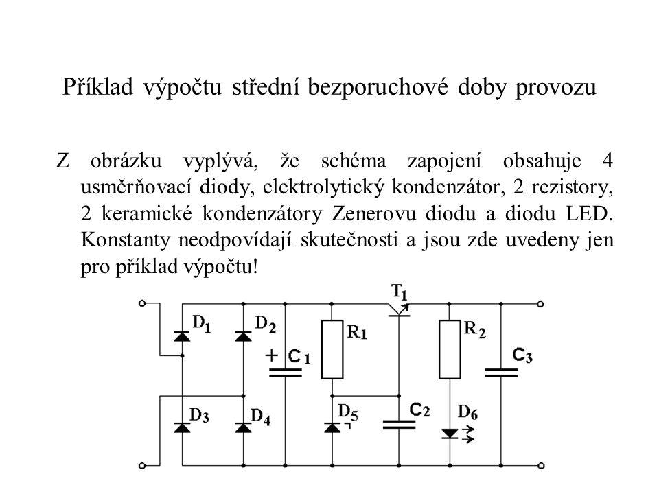 Příklad výpočtu střední bezporuchové doby provozu Z obrázku vyplývá, že schéma zapojení obsahuje 4 usměrňovací diody, elektrolytický kondenzátor, 2 re