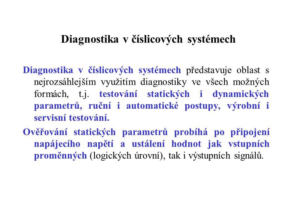 Diagnostika v číslicových systémech Diagnostika v číslicových systémech představuje oblast s nejrozsáhlejším využitím diagnostiky ve všech možných for