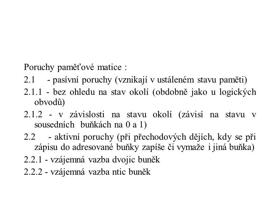 Poruchy paměťové matice : 2.1 - pasívní poruchy (vznikají v ustáleném stavu paměti) 2.1.1 - bez ohledu na stav okolí (obdobně jako u logických obvodů)