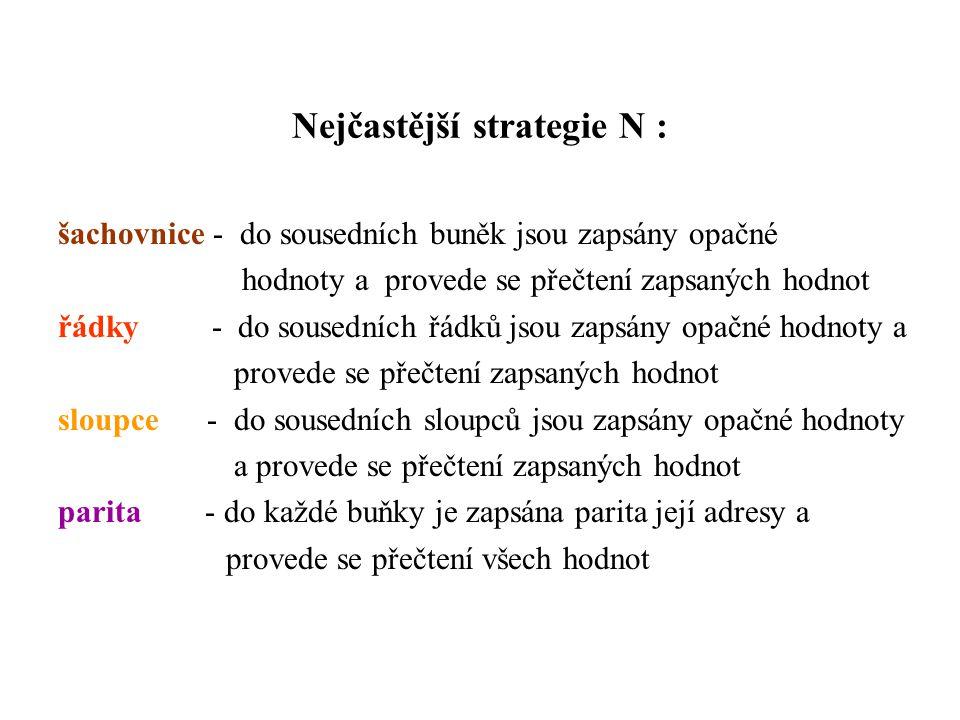 Nejčastější strategie N : šachovnice - do sousedních buněk jsou zapsány opačné hodnoty a provede se přečtení zapsaných hodnot řádky - do sousedních řá