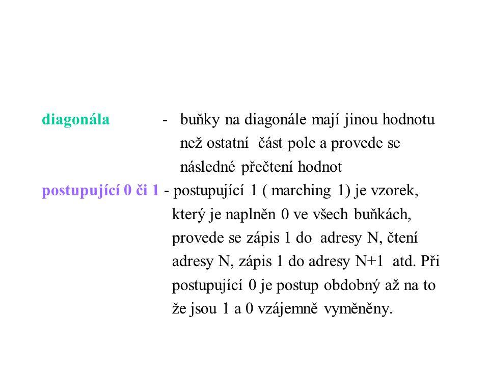 diagonála - buňky na diagonále mají jinou hodnotu než ostatní část pole a provede se následné přečtení hodnot postupující 0 či 1 - postupující 1 ( mar