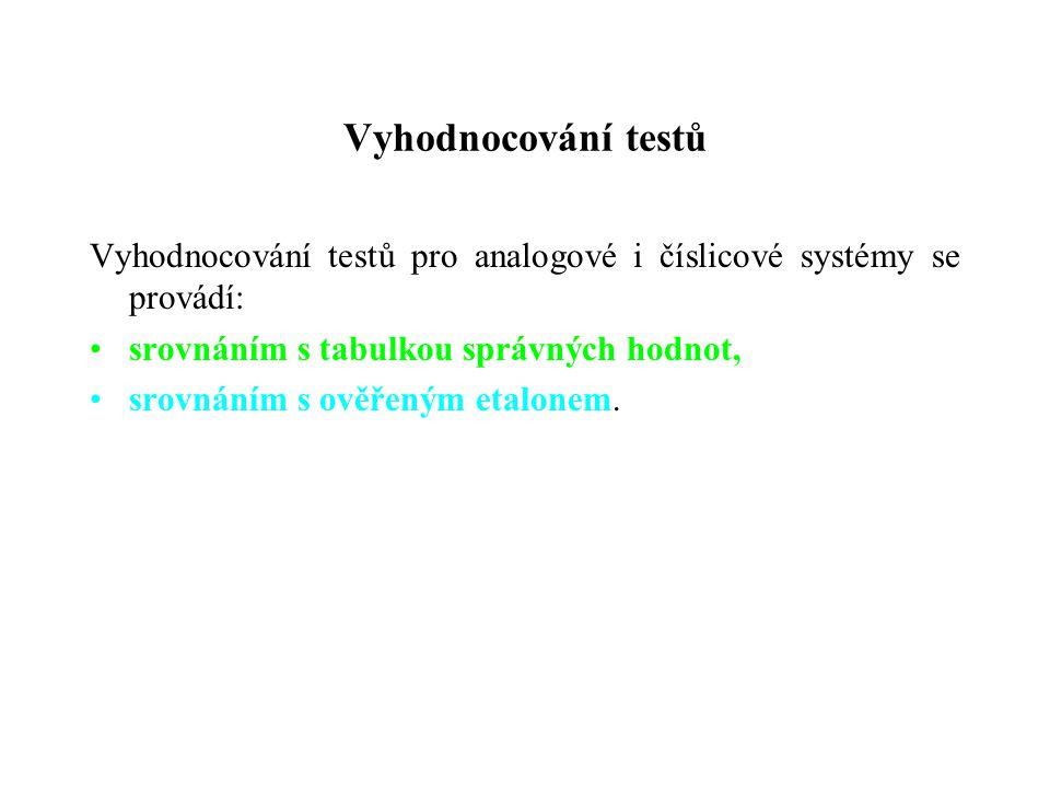 Vyhodnocování testů Vyhodnocování testů pro analogové i číslicové systémy se provádí: srovnáním s tabulkou správných hodnot, srovnáním s ověřeným etal