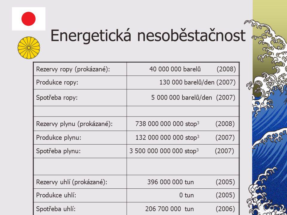 Energetická nesoběstačnost Rezervy ropy (prokázané): 40 000 000 barelů (2008) Produkce ropy: 130 000 barelů/den (2007) Spotřeba ropy: 5 000 000 barelů/den (2007) Rezervy plynu (prokázané): 738 000 000 000 stop 3 (2008) Produkce plynu: 132 000 000 000 stop 3 (2007) Spotřeba plynu:3 500 000 000 000 stop 3 (2007) Rezervy uhlí (prokázané): 396 000 000 tun (2005) Produkce uhlí: 0 tun (2005) Spotřeba uhlí: 206 700 000 tun (2006)