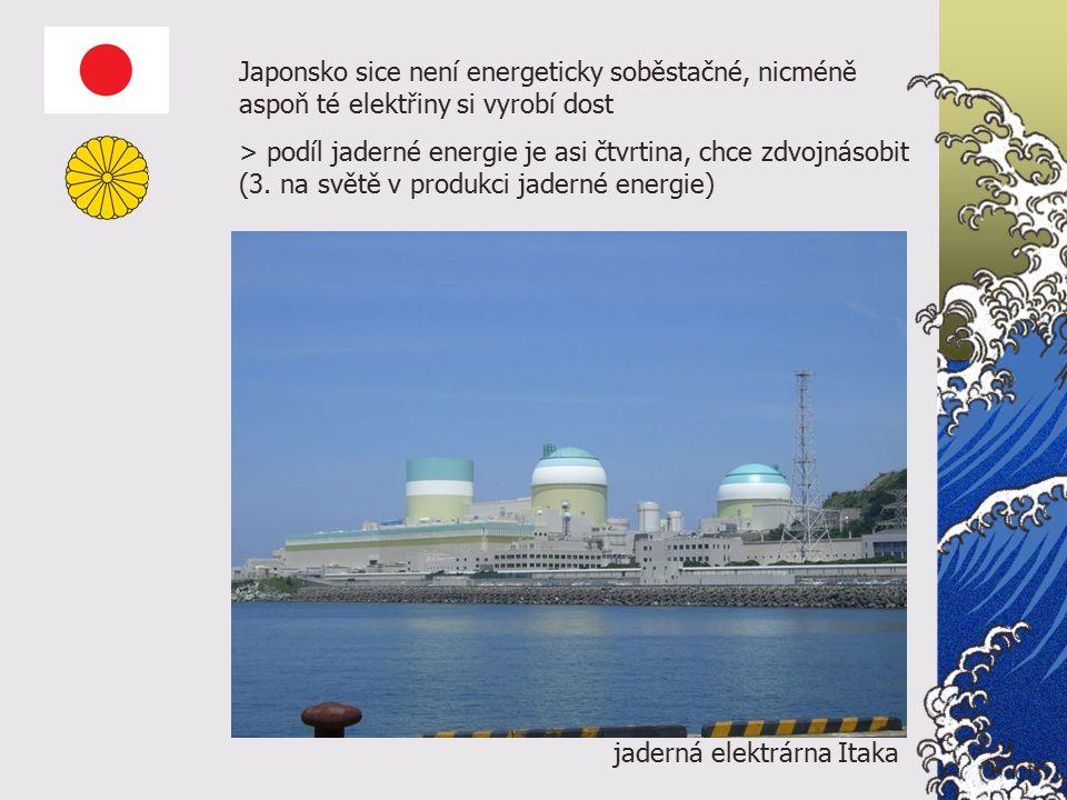 jaderná elektrárna Itaka Japonsko sice není energeticky soběstačné, nicméně aspoň té elektřiny si vyrobí dost > podíl jaderné energie je asi čtvrtina, chce zdvojnásobit (3.