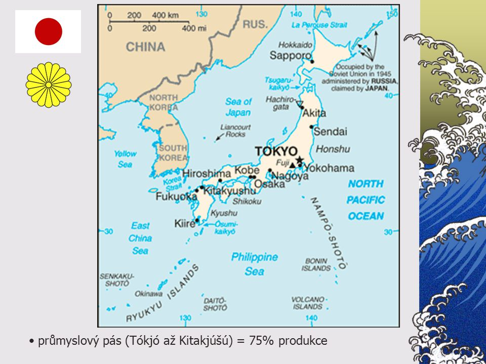 průmyslový pás (Tókjó až Kitakjúšú) = 75% produkce