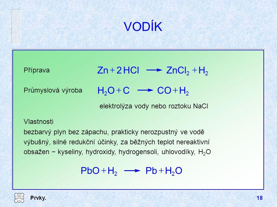 Prvky.18 VODÍK Příprava 22 HZnClHCl2Zn  Průmyslová výroba 22 HCOCOH  elektrolýza vody nebo roztoku NaCl Vlastnosti bezbarvý plyn bez zápachu, prak