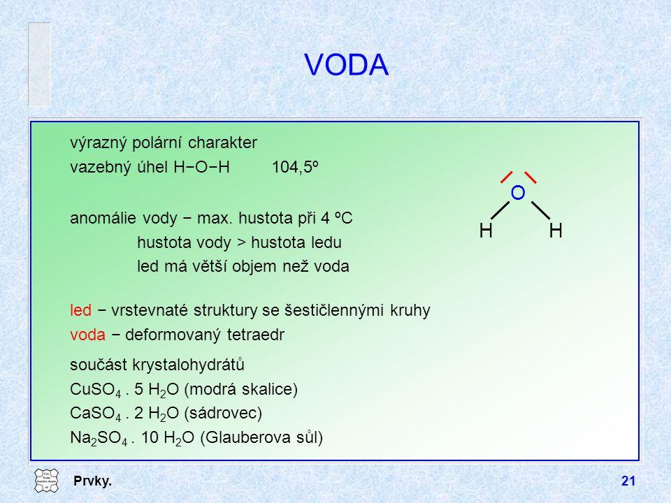 Prvky.21 VODA výrazný polární charakter vazebný úhel H−O−H104,5º HH O anomálie vody − max. hustota při 4 ºC hustota vody > hustota ledu led má větší o