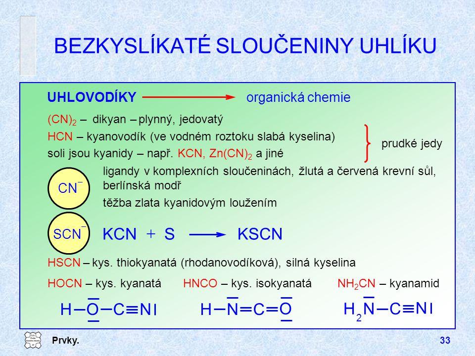 Prvky.33 HSCN – kys. thiokyanatá (rhodanovodíková), silná kyselina BEZKYSLÍKATÉ SLOUČENINY UHLÍKU UHLOVODÍKYorganická chemie (CN) 2 – dikyan – plynný,