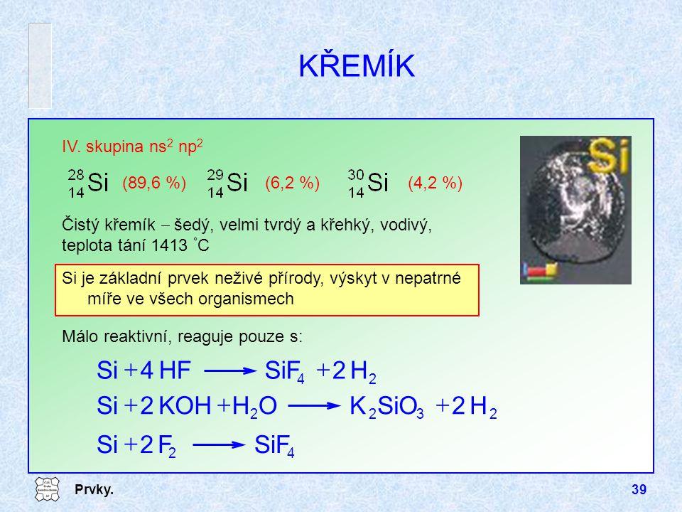 Prvky.39 KŘEMÍK IV. skupina ns 2 np 2 Čistý křemík  šedý, velmi tvrdý a křehký, vodivý, teplota tání 1413 ° C (89,6 %)(6,2 %)(4,2 %) 24 H2SiFHF4Si 