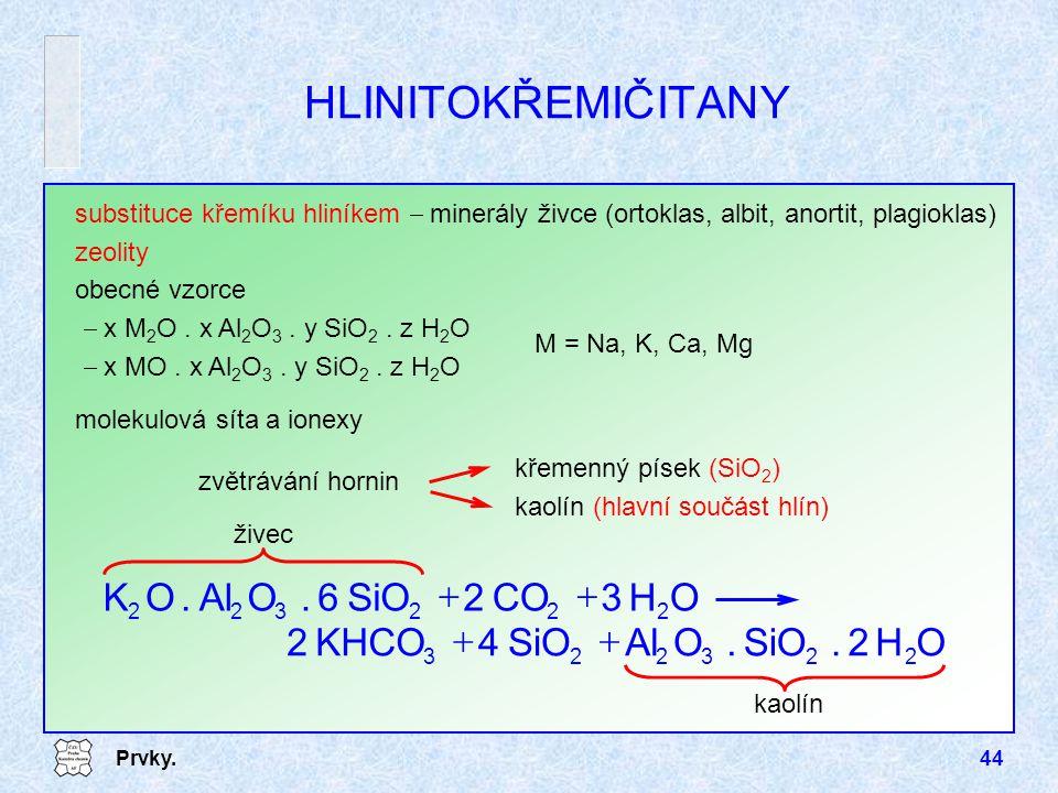 Prvky.44 HLINITOKŘEMIČITANY substituce křemíku hliníkem  minerály živce (ortoklas, albit, anortit, plagioklas) zeolity obecné vzorce  x M 2 O. x Al