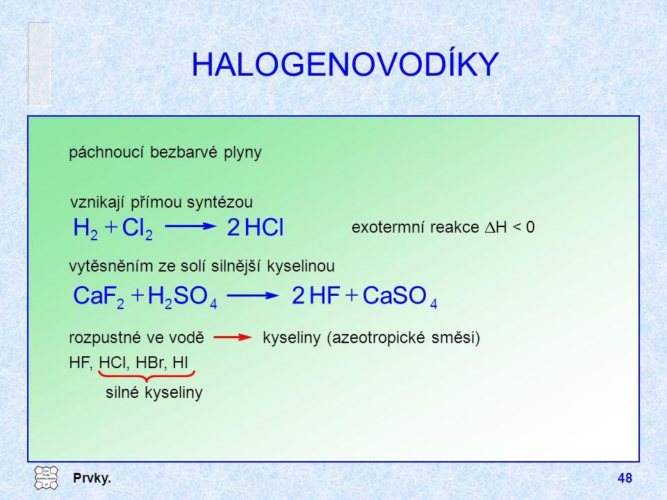 Prvky.48 HALOGENOVODÍKY vznikají přímou syntézou HCl2ClH 22  exotermní reakce  H < 0 4422 CaSOHF2SOHCaF  rozpustné ve vodě kyseliny (azeotropické