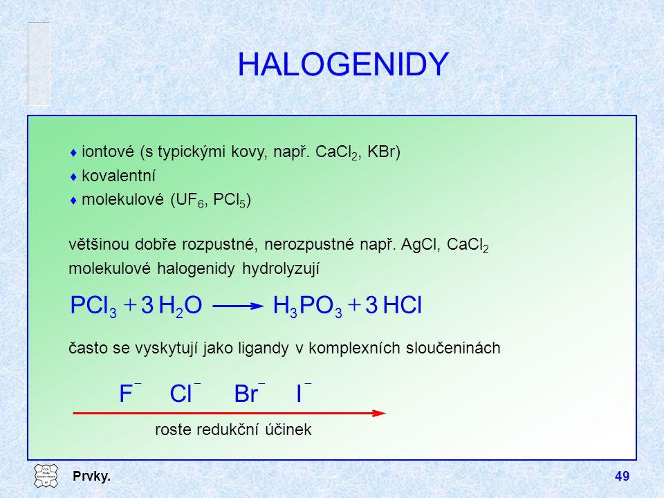 Prvky.49  iontové (s typickými kovy, např. CaCl 2, KBr)  kovalentní  molekulové (UF 6, PCl 5 ) HALOGENIDY většinou dobře rozpustné, nerozpustné nap