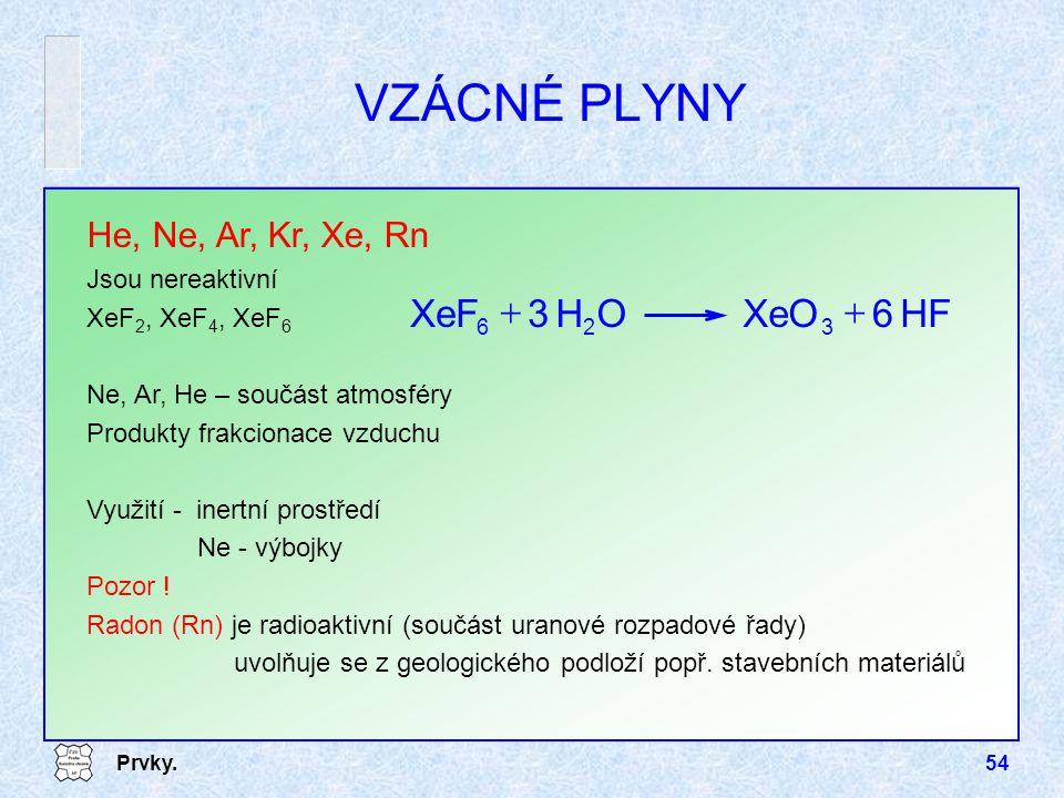 Prvky.54 VZÁCNÉ PLYNY He, Ne, Ar, Kr, Xe, Rn Jsou nereaktivní XeF 2, XeF 4, XeF 6 Ne, Ar, He – součást atmosféry Produkty frakcionace vzduchu Využití