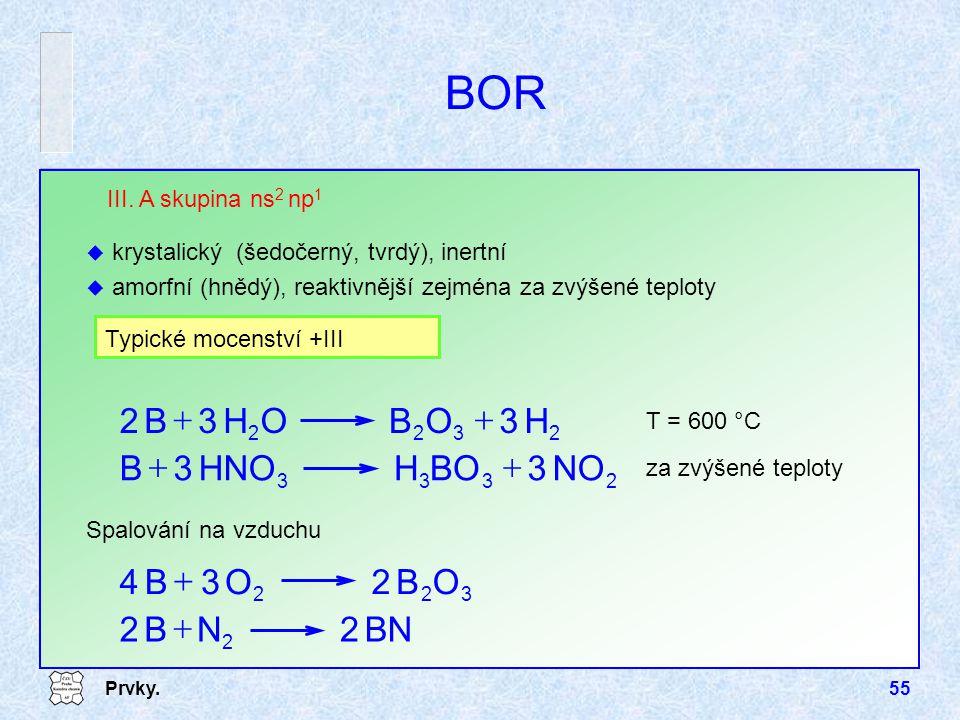 Prvky.55 322 OB2O3B4  Spalování na vzduchu BOR za zvýšené teploty III. A skupina ns 2 np 1 u krystalický (šedočerný, tvrdý), inertní u amorfní (hnědý