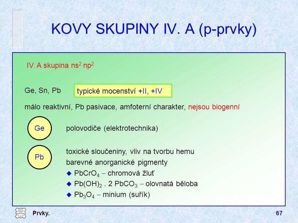 Prvky.67 málo reaktivní, Pb pasivace, amfoterní charakter, nejsou biogenní IV. A skupina ns 2 np 2 Ge, Sn, Pb typické mocenství +II, +IV KOVY SKUPINY