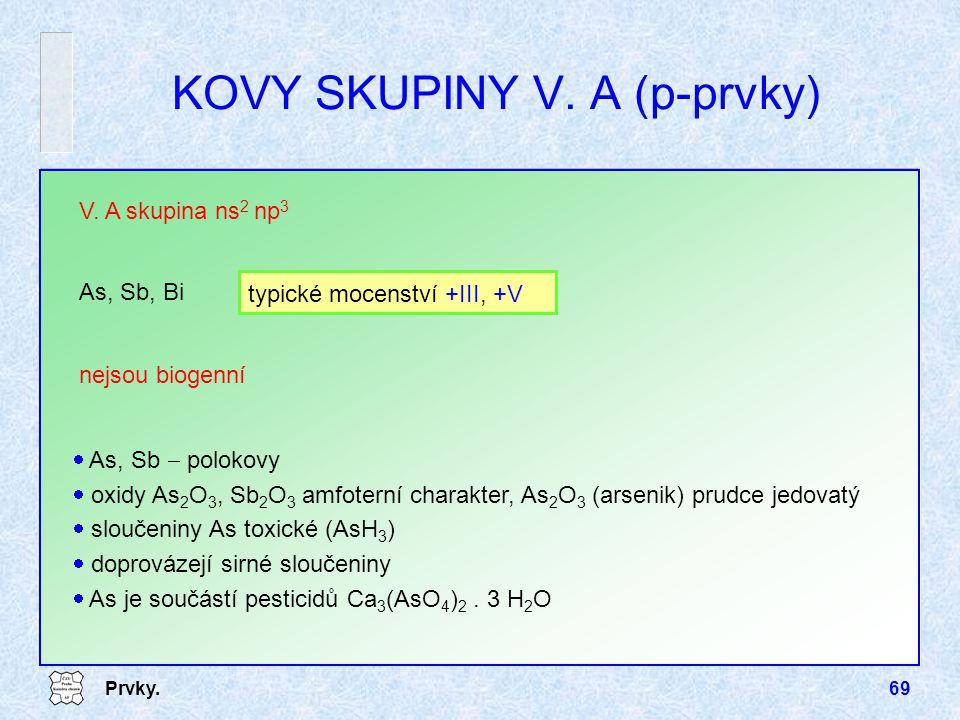 Prvky.69 nejsou biogenní V. A skupina ns 2 np 3 As, Sb, Bi typické mocenství +III, +V KOVY SKUPINY V. A (p-prvky)  As, Sb  polokovy  oxidy As 2 O 3