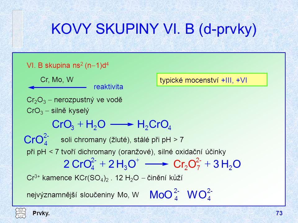 Prvky.73 nejvýznamnější sloučeniny Mo, W Cr 2 O 3  nerozpustný ve vodě CrO 3  silně kyselý VI. B skupina ns 2 (n  1)d 4 Cr, Mo, W KOVY SKUPINY VI.