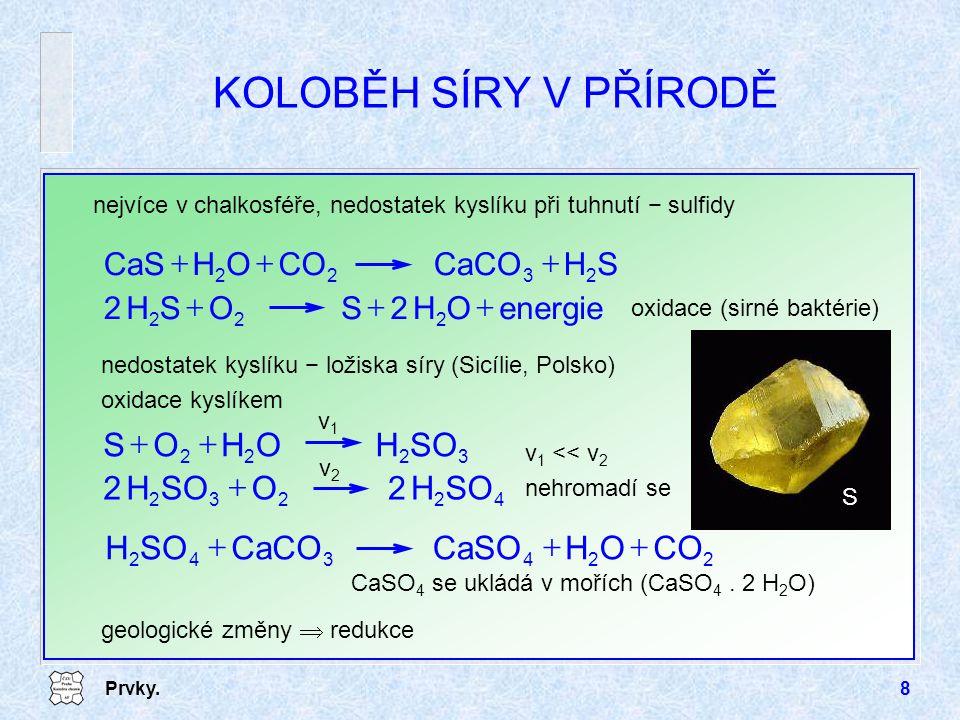 Prvky.8 KOLOBĚH SÍRY V PŘÍRODĚ nejvíce v chalkosféře, nedostatek kyslíku při tuhnutí − sulfidy energieOH2SOSH2 222  SHCaCOCOOHCaS 2322  oxidace