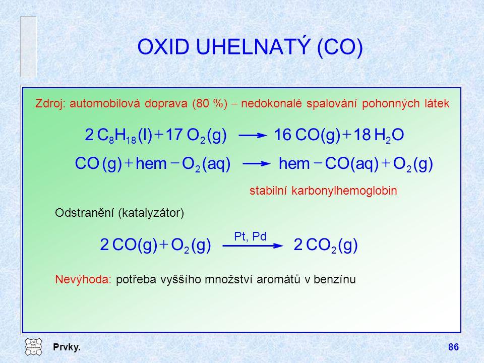 Prvky.86 OXID UHELNATÝ (CO) Zdroj: automobilová doprava (80 %)  nedokonalé spalování pohonných látek Odstranění (katalyzátor) Nevýhoda: potřeba vyšší