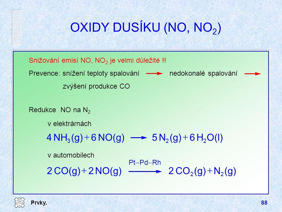 Prvky.88 OXIDY DUSÍKU (NO, NO 2 ) Snižování emisí NO, NO 2 je velmi důležité !! Redukce NO na N 2 v elektrárnách Prevence: snížení teploty spalováníne