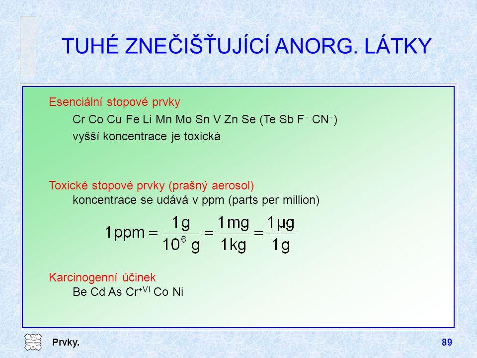 Prvky.89 TUHÉ ZNEČIŠŤUJÍCÍ ANORG. LÁTKY Esenciální stopové prvky Cr Co Cu Fe Li Mn Mo Sn V Zn Se (Te Sb F  CN  ) vyšší koncentrace je toxická Toxick