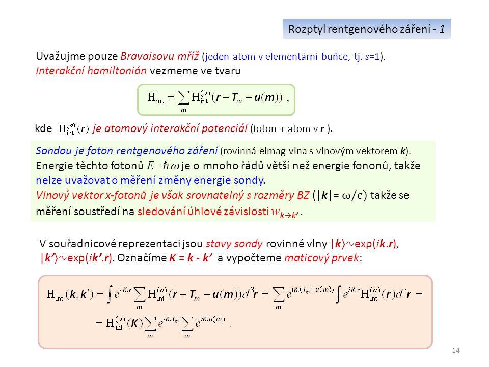 14 Rozptyl rentgenového záření - 1 Uvažujme pouze Bravaisovu mříž (jeden atom v elementární buňce, tj.
