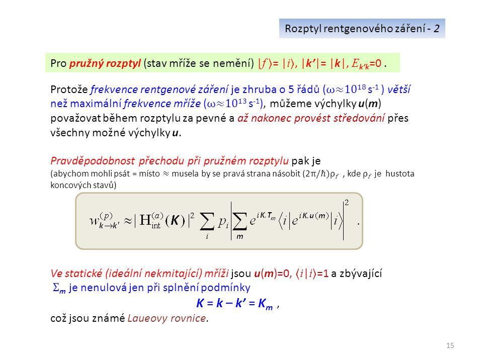 15 Rozptyl rentgenového záření - 2 Pro pružný rozptyl (stav mříže se nemění) | f = | i, |k'|= |k|, E k'k =0.