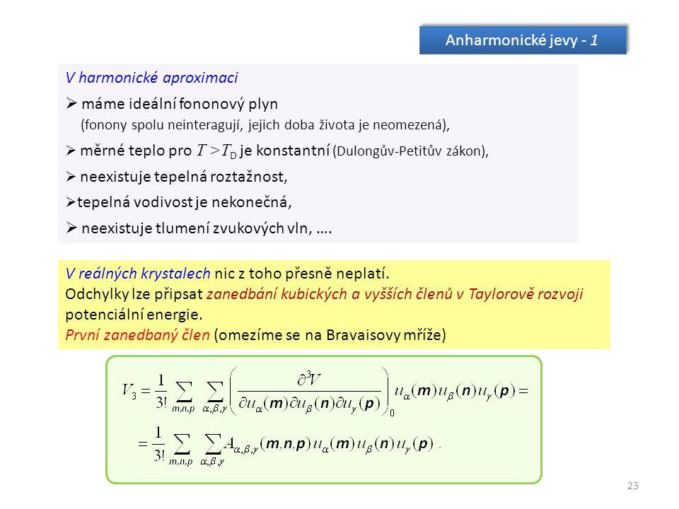 23 Anharmonické jevy - 1 V harmonické aproximaci  máme ideální fononový plyn (fonony spolu neinteragují, jejich doba života je neomezená),  měrné teplo pro T >T D je konstantní (Dulongův-Petitův zákon),  neexistuje tepelná roztažnost,  tepelná vodivost je nekonečná,  neexistuje tlumení zvukových vln, ….
