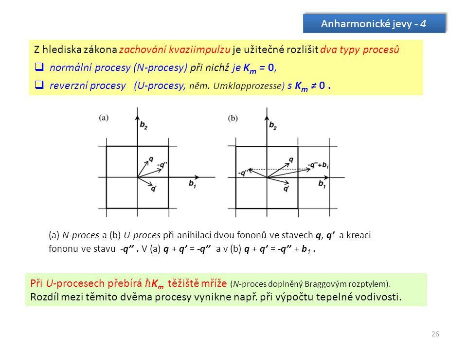 26 Anharmonické jevy - 4 Z hlediska zákona zachování kvaziimpulzu je užitečné rozlišit dva typy procesů  normální procesy (N-procesy) při nichž je K m = 0,  reverzní procesy (U-procesy, něm.