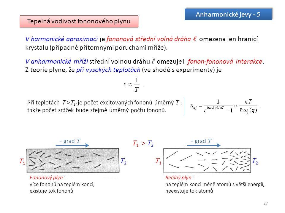 27 Anharmonické jevy - 5 Tepelná vodivost fononového plynu V harmonické aproximaci je fononová střední volná dráha ℓ omezena jen hranicí krystalu (případně přítomnými poruchami mříže).