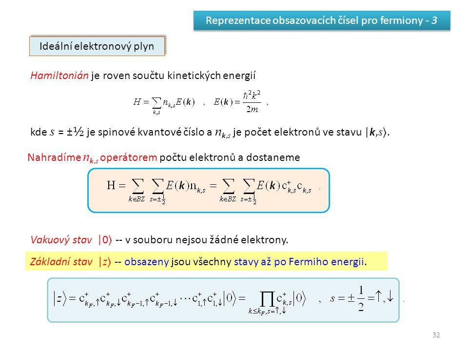32 Reprezentace obsazovacích čísel pro fermiony - 3 Ideální elektronový plyn Hamiltonián je roven součtu kinetických energií kde s = ± ½ je spinové kvantové číslo a n k, s je počet elektronů ve stavu |k, s.