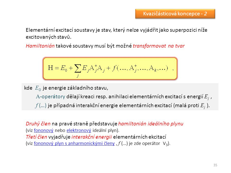 35 Kvazičásticová koncepce - 2 Elementární excitací soustavy je stav, který nelze vyjádřit jako superpozici níže excitovaných stavů.