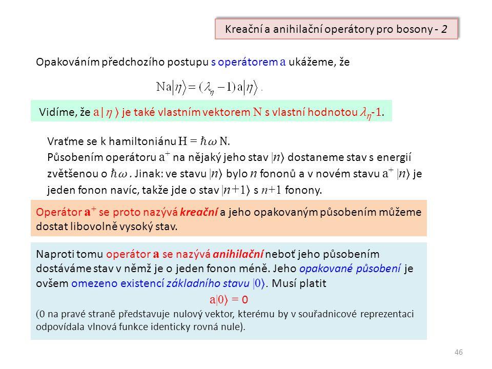 46 Opakováním předchozího postupu s operátorem a ukážeme, že Vidíme, že a | η ⟩ je také vlastním vektorem N s vlastní hodnotou λ η -1.