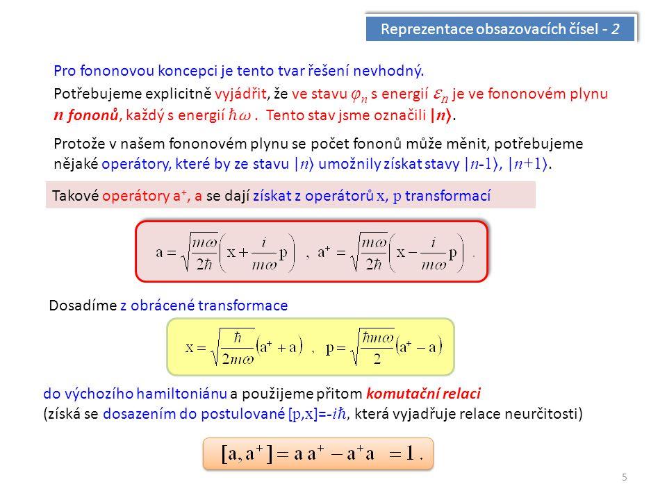 5 Reprezentace obsazovacích čísel - 2 Pro fononovou koncepci je tento tvar řešení nevhodný.