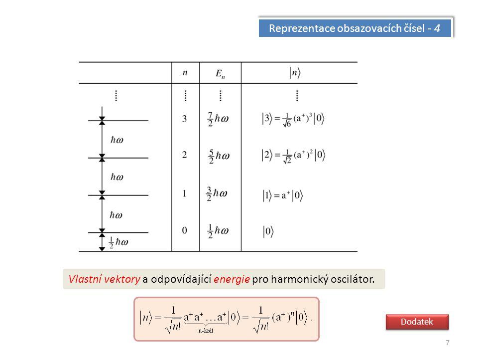 7 Reprezentace obsazovacích čísel - 4 Vlastní vektory a odpovídající energie pro harmonický oscilátor.