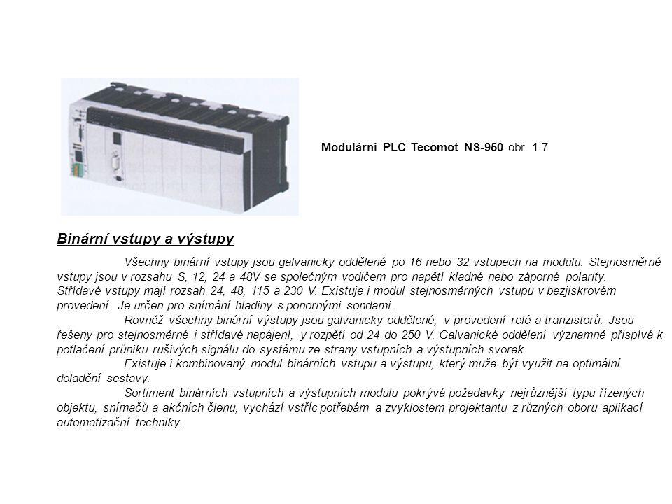 Modulární PLC Tecomot NS-950 obr. 1.7 Binární vstupy a výstupy Všechny binární vstupy jsou galvanicky oddělené po 16 nebo 32 vstupech na modulu. Stejn