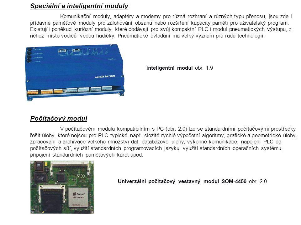 Speciální a inteligentní moduly Komunikační moduly, adaptéry a modemy pro různá rozhraní a různých typu přenosu, jsou zde i přídavné paměťové moduly pro zálohování obsahu nebo rozšíření kapacity paměti pro uživatelský program.