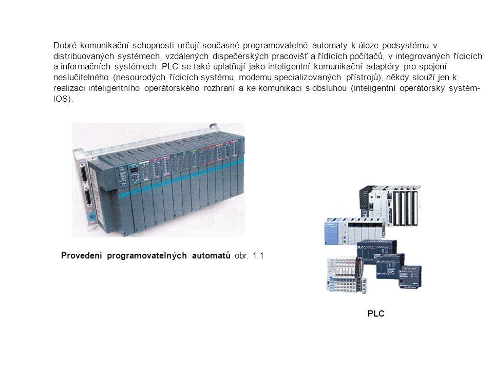 Komunikační možnosti Důležitou součástí PLC je schopnost komunikovat se vzdálenými moduly vstupu a výstupu, s podsystémy, se souřadnými i nadřízenými systémy, s operátorskými panely a s jinými inteligentními přístroji, s počítačem a jejich sítěmi a tak vytvářet distribuované systémy.