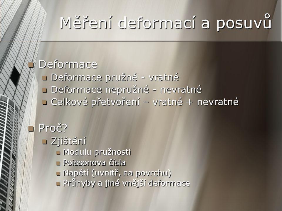 Deformace Deformace Deformace pružné - vratné Deformace pružné - vratné Deformace nepružné - nevratné Deformace nepružné - nevratné Celkové přetvoření