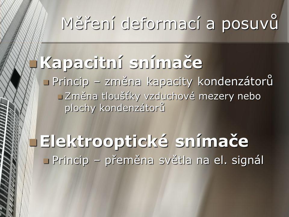 Měření deformací a posuvů Kapacitní snímače Kapacitní snímače Princip – změna kapacity kondenzátorů Princip – změna kapacity kondenzátorů Změna tloušťky vzduchové mezery nebo plochy kondenzátorů Změna tloušťky vzduchové mezery nebo plochy kondenzátorů Elektrooptické snímače Elektrooptické snímače Princip – přeměna světla na el.