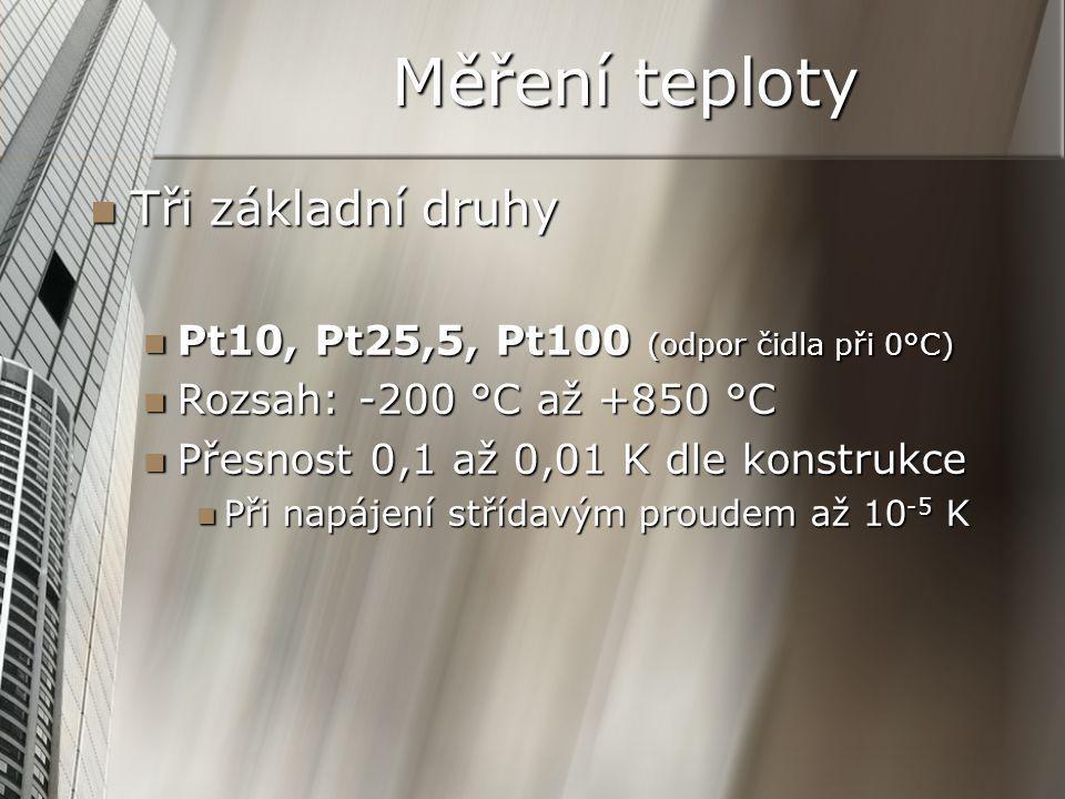 Měření teploty Tři základní druhy Tři základní druhy Pt10, Pt25,5, Pt100 (odpor čidla při 0°C) Pt10, Pt25,5, Pt100 (odpor čidla při 0°C) Rozsah: -200 °C až +850 °C Rozsah: -200 °C až +850 °C Přesnost 0,1 až 0,01 K dle konstrukce Přesnost 0,1 až 0,01 K dle konstrukce Při napájení střídavým proudem až 10 -5 K Při napájení střídavým proudem až 10 -5 K