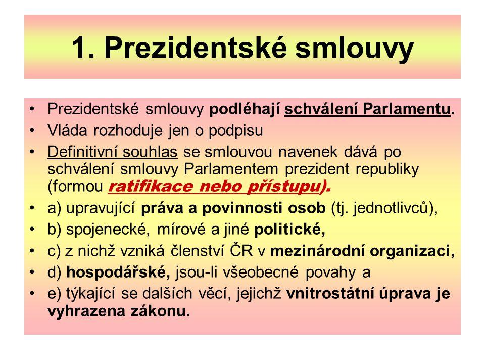 1. Prezidentské smlouvy Prezidentské smlouvy podléhají schválení Parlamentu. Vláda rozhoduje jen o podpisu Definitivní souhlas se smlouvou navenek dáv
